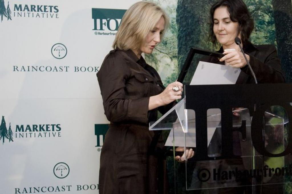 Canopy's Nicole Rycroft pictured with J.K. Rowling after a successful campaign made Deathly Hallows the greenest book in publishing history