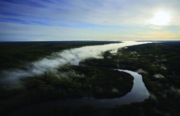 Ground fog over the river Athabasca and boreal forest in early morning, north of Fort McMurray, northern Alberta, Canada.